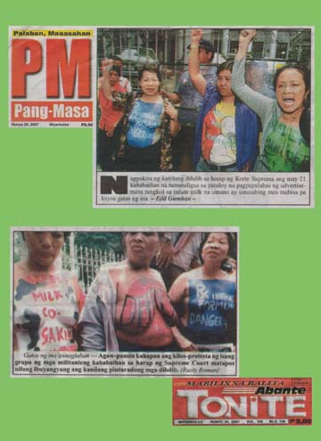 Women protest outside the Supreme Court as pharmaceutical companies attempt to strike down Ministry of Health Regulations for the marketing of baby foods. Seehttp://www.babymilkaction.org/philippines/